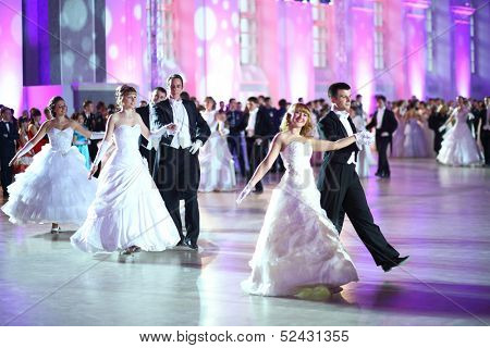 MOSCOW - FEB 22: Beautiful dancing couple on the Kremlin Cadet Ball, on February 22, 2013 in Moscow, Russia.