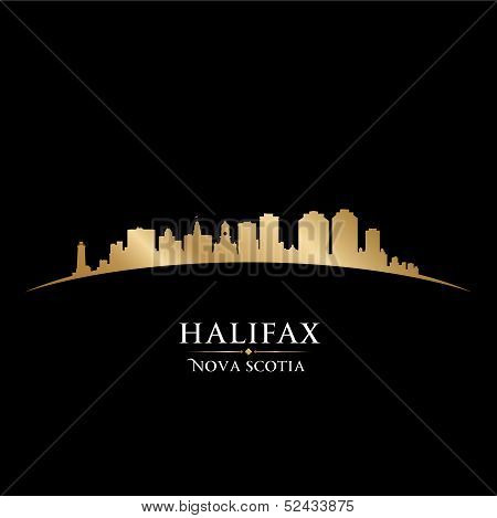 Halifax Nova Scotia Canada City Skyline Silhouette Black Background