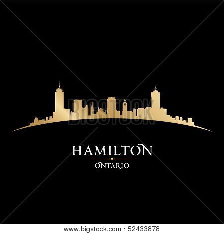 Hamilton Ontario Canada City Skyline Silhouette Black Background
