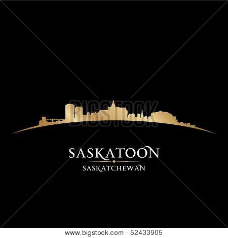 Saskatoon Saskatchewan Canada City Skyline Silhouette Black Background