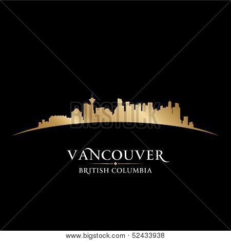 Vancouver British Columbia City Skyline Silhouette Black Background