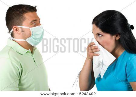 Sick Woman And Paranoia Man