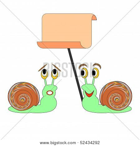 Two Funny Cartoon Snails With A Big Blank Paper