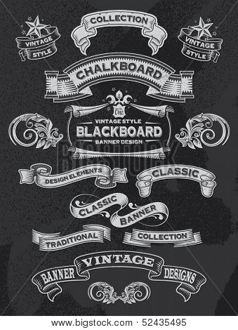Hand drawn blackboard banner vector illustration with texture added