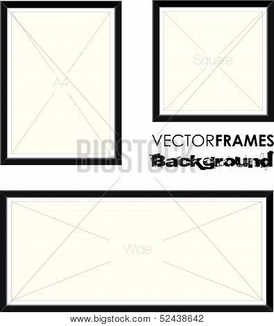 a set of three black picture frames poster