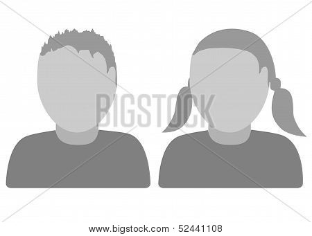 Illustration of default avatar thumb boy and girl poster