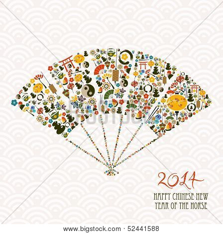 Chinese Year Of The Horse Fan Shape Vector File.