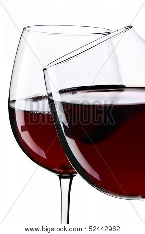 Two glasses of wine with white background