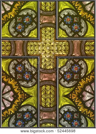 Stained Glass Cross Window Panel