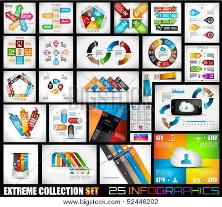 Extreme Collection of 25 quality Infographics background. A lot of different templates ready to display your data.