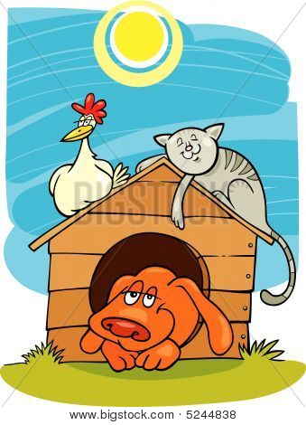 cartoon vector illustration of happy three animals: dog cat and chicken poster