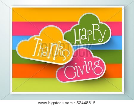 Stylize text Happy Thanks Giving on colorful background.  poster