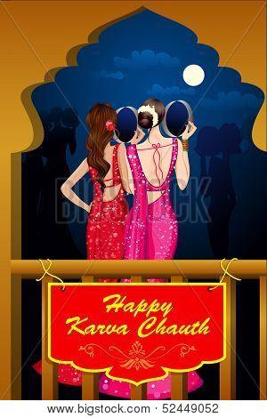 Indian Lady celebrating Karwa Chauth