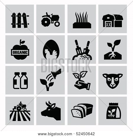vector black agriculture and farming icons set poster
