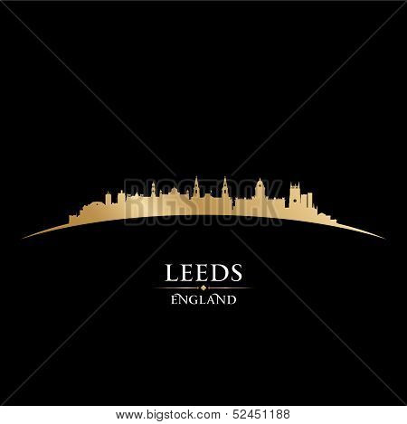 Leeds England City Skyline Silhouette Black Background