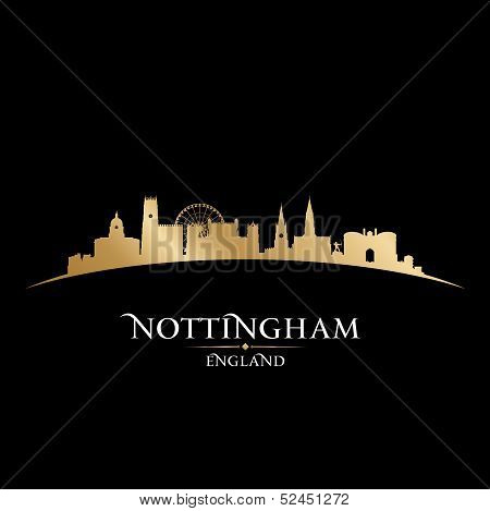 Nottingham England City Skyline Silhouette Black Background