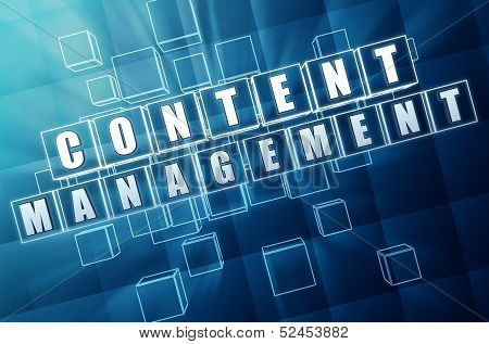 Content Management In Blue Glass Cubes - Internet Concept