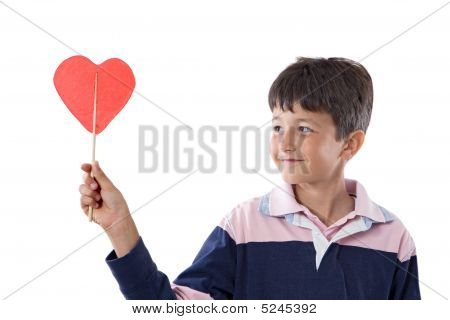 Funny Child With Lollipop With Heart-shaped