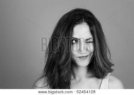 Brunette Woman Making Faces