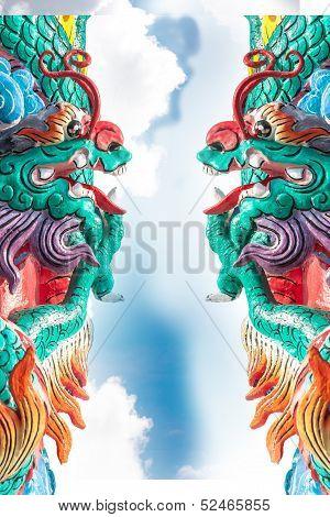 Dragon statue on sky