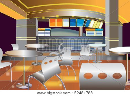 Interior of a modern bar (vector illustration)