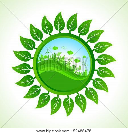 Eco city inside the leaf background stock vector