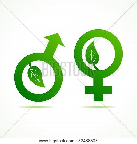 Male and Female symbol with leaf stock vector