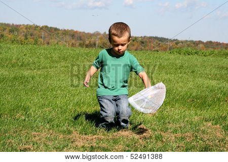 Toddler with butterfly net