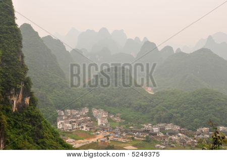 View Of Moon Hill Village  Near Guiling, Guanxi Province, China