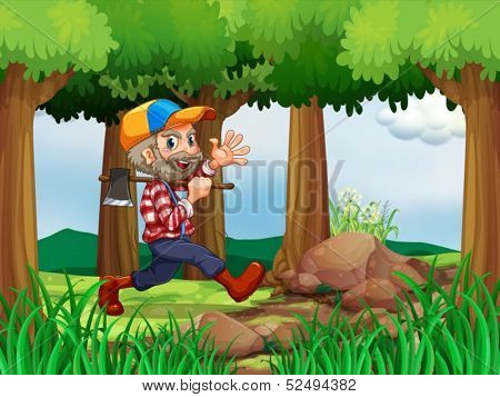 Illustration of a forest with a cheerful woodman