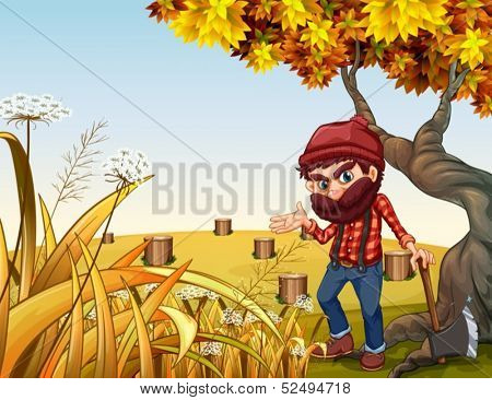 Illustration of a woodman with a sharp axe standing near the old tree