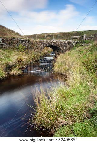 stone built moorland packhorse bridge