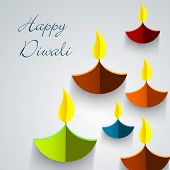 Indian festival of lights, Happy Diwali creative concept with colorful illuminated oil lit lamps made by fold paper on abstract grey background.  poster