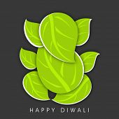Creative illustration of Hindu mythology Lord Ganesha made with green leaves on dark abstract background for Indian festival of lights, Happy Diwali.  poster