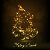 Shiny illustration of Hindu mythology Lord Ganesha on occasion of Indian festival of lights Happy Diwali. poster