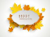 Happy Thanksgiving sticker, tag or label beautiful maple leaves.  poster