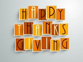 Colorful sticker, tags or labels with Stylize text on grey background for Happy Thanks Giving.  poster