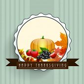 Happy Thanksgiving vintage badge, tag or label with brown ribbon, vegetables and maple leaves.  poster