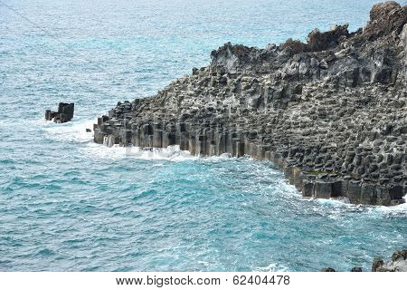 Basaltic Columnar Joint Coast In Jungmun In Jeju Island