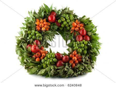 Traditional Fresh Holi Wreath, Isolated On White