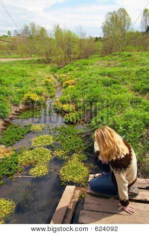 Women and green grass.