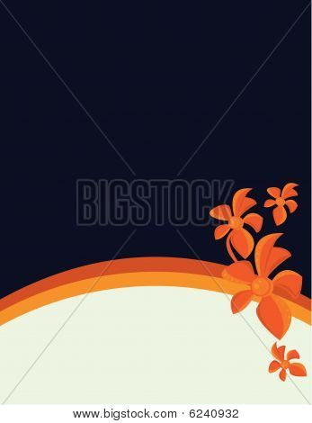 Blue Background With Orange Flowers