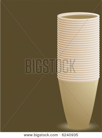 Tan Stacked Cups On A Brown Background