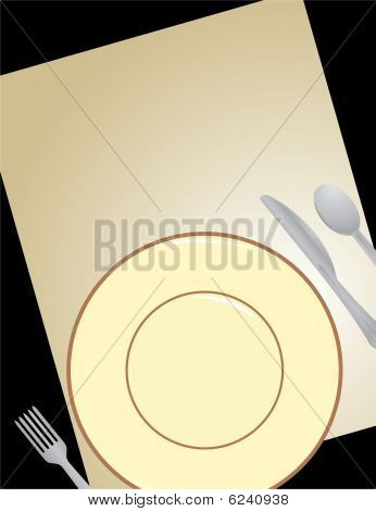 Dish And Silverware With Paper On Black Background