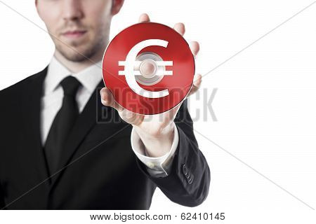 man holding cd with euro symbol