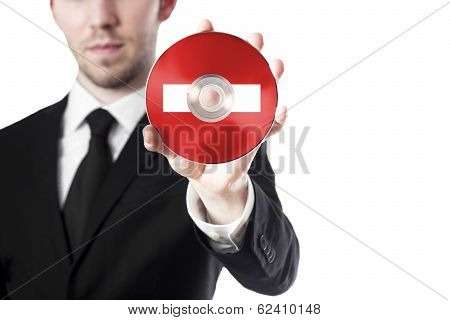 man holding cd in hand