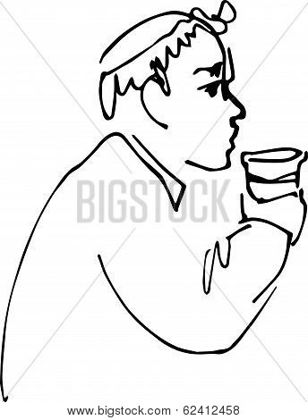 Bald Man Drinking From A Cup