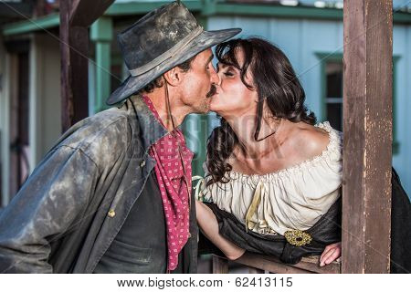 Gruff Man And Woman Kiss