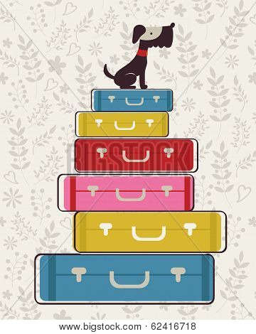 Illustration of little dog sitting on luggage poster