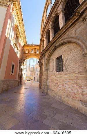 Valencia corridor arch between Cathedral and Basilica Desamparados in Spain
